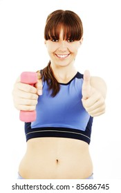 Happy fitness woman with dumbbells, showing OK sign. Isolated on white background