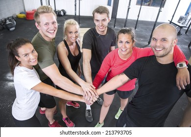 Happy fitness workout team