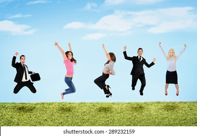 Happy five people jumping in landscape