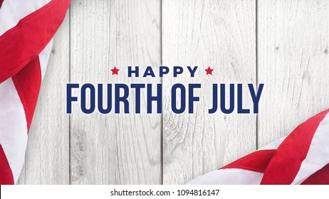 Happy Fourth of July Text Over White Wood Wall Texture Background and American Flags