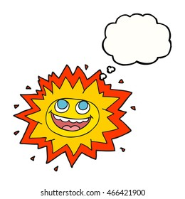 happy freehand drawn thought bubble cartoon sun