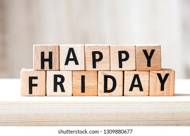 Happy Friday text on wooden blocks