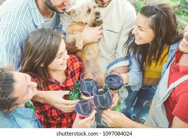 Happy friends cheering with glasses of red wine outdoor - Young people having fun drinking, toasting and laughing together in a vineyard house - Friendship and youth lifestyle concept