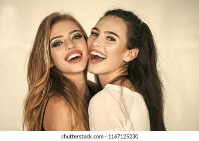 happy friends, family, hairdresser, lgbt. happy friends smiling isolated on white