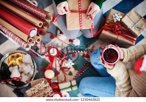 Happy Friends Preparing Christmas Presents Christmas Stock Photo