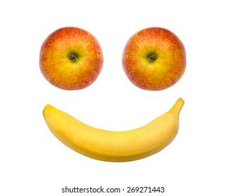 Happy fruit face - apple, banana
