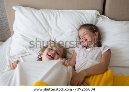 Happy Funny Brother Sister Lie On Stock Photo Edit Now 709255084