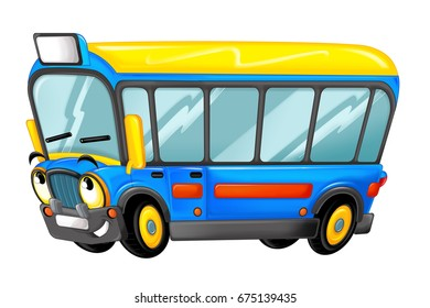 happy and funny cartoon bus looking and smiling - illustration for children