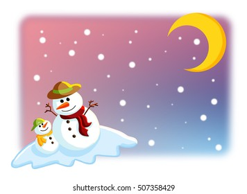 Happy & funny colorful father and son snowman on snow with snowy weather, pink purple blue and crescent moon background.