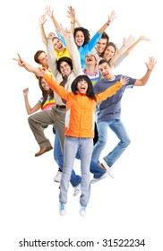 Happy funny jumping people. Isolated over white background