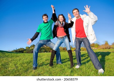 Happy funny team