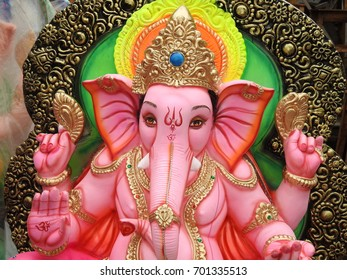 Happy Ganesh Chathurthi. Indian Hindu God Lord Ganesha Statues made of clay and soil, coated with ceramic colors, handmade artistic effects. He also known as Lord God Vinayaka.