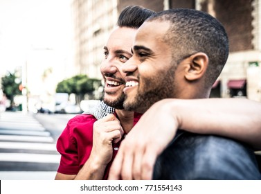 Happy gay couple spending time together