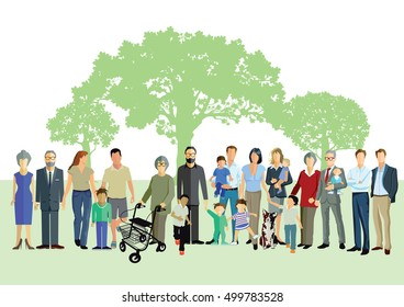 Happy Generation and Family Portrait, 3D illustration