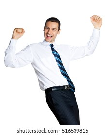 Happy gesturing young smiling businessman, isolated against white background. Success in business, job and education concept studio shot.