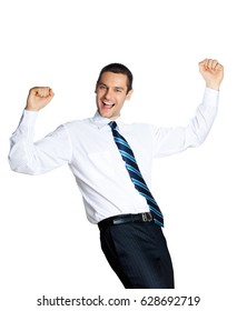 Happy gesturing young smiling businessman, isolated on white background. Success in business, job and education concept shot.