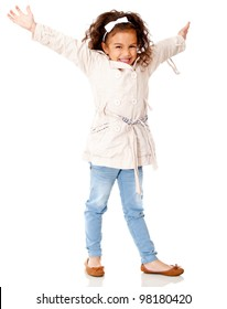 Happy girl with arms up - isolated over a white background