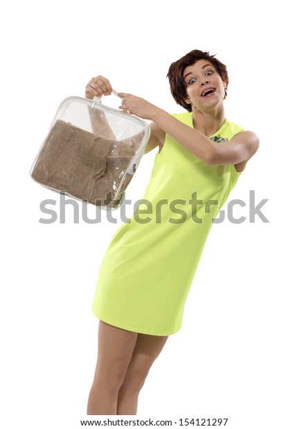 The happy girl with a bag