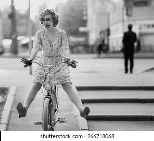 happy girl bike summer