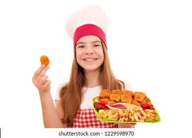 Happy girl cook with chicken nuggets fast food