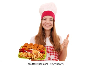 Happy girl cook with chicken nuggets and thumb up