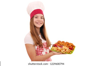 Happy girl cook with chicken nuggets and french fries fast food