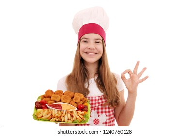 Happy girl cook with chicken nuggets and ok hand sign