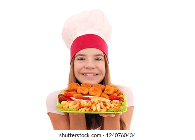 Happy girl cook with chicken nuggets and french fries on plate