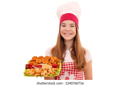 Happy girl cook with chicken nuggets and french fries fast food on plate