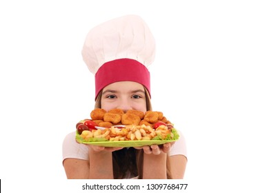 Happy girl cook with chicken nuggets and french fries portion