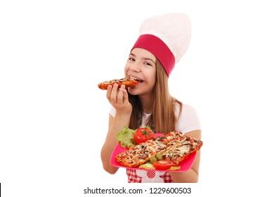 Happy girl cook eats a sandwich