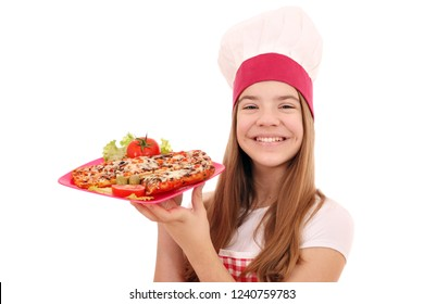 Happy girl cook with sandwich on plate
