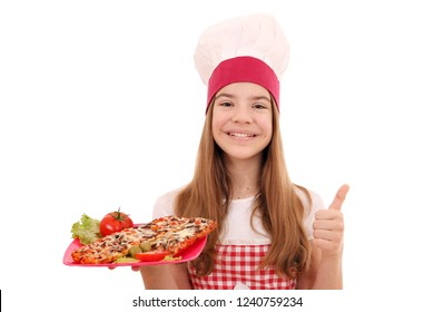 Happy girl cook with sandwich and thumb up