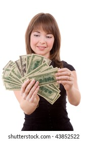 happy girl with dollars isolated on white