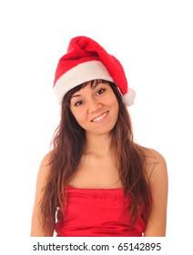 Happy girl dressed in Santa hat.