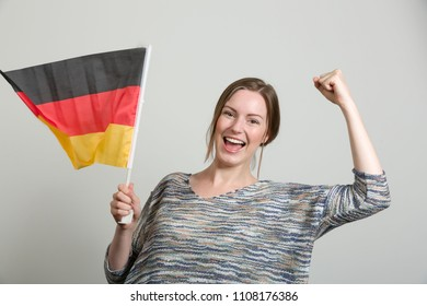 happy girl with a german flag