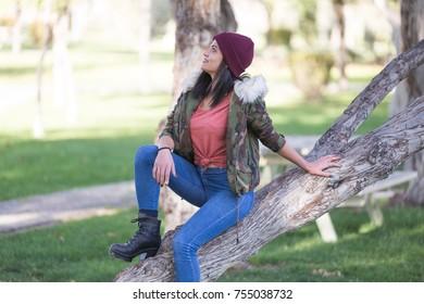 happy girl having fun in the fall
