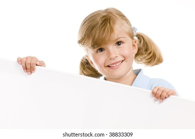 Happy girl holding a blank sign