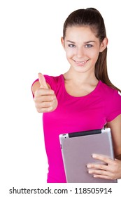 Happy girl holding t?ablet computer and showing thumbs up. Isolated on white background