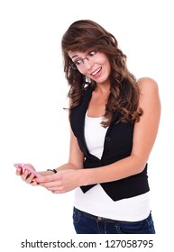 Happy girl holding mobile phone over white background
