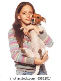 happy girl with Jack Russell Terrier