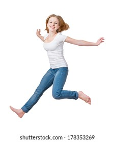 happy girl jumping isolated on white background