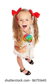 Happy girl with large lollipop - isolated