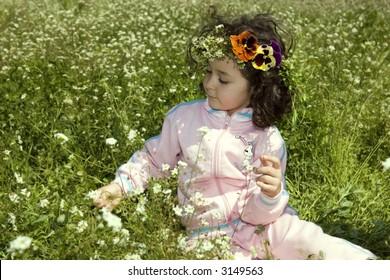 happy girl in meadow