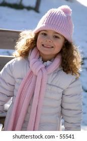 happy girl on the snow