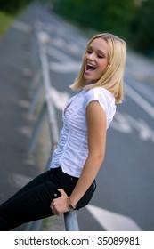 happy girl on the street