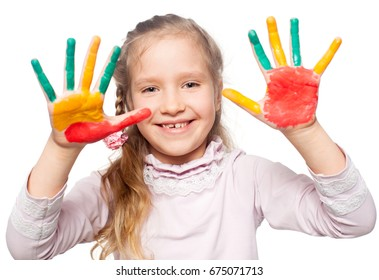 Happy girl with painted palms