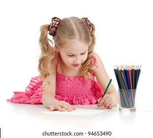 happy girl with pencils