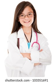 Happy girl playing a doctor - isolated over a white background