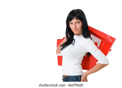 happy girl with red packets isolated on white